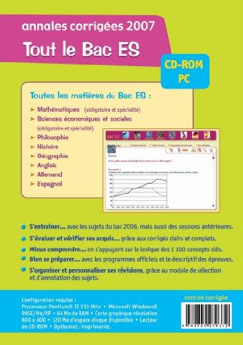 Annales corrigées Bac ES : CD-Rom