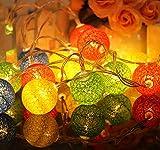 Sodhue Wattebausch Leuchtet LED Lichterkette mit Kugeln aus Baumwolle Cotton Ball Lights LED Lampions Silberne Kugeln Batteriebetrieben für Indoor Weihnachtsbaum Dekorationen(2.3Meter)