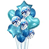 Yalulu 14 Stück Konfetti Luftballons Folienballon Herz Star Ballon Luftballons Latex Helium Pailletten Ballon Für Geburtstagsfeier Hochzeit Party Valentinstag Dekorationen