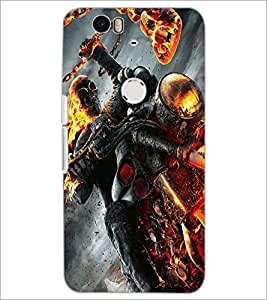 PrintDhaba Ghost Rider D-2172 Back Case Cover for HUAWEI NEXUS 6P (Multi-Coloured)