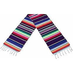 BESTONZON Camino de mesa estilo mexicano de tela rollo arco iris camino de mesa para fiesta mexicana decoración de boda (35 x 215 cm)