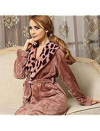 5d03f0ac937ea1 Ari_Mao Frauen Winter Flanell Bademantel Leopard Kragen langärmeligen  Nachthemd Pyjama Bademantel (Farbe : Pink,