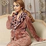 OHlive Frauen Winter Flanell Bademantel Leopard Kragen langärmeligen Nachthemd Pyjama Bademantel (Farbe : Pink, Größe : XL)