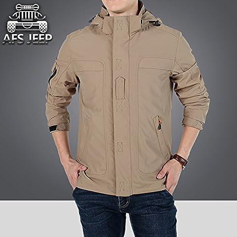 Hombre de arena-prueba Andes montaña sola capa exterior,chaqueta caqui,L