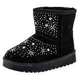 Fashionteam24 Gefütterte Mädchen Stiefel Boots Winter Schuhe Glitzer Strass Wildlederoptik M445sw Schwarz 34 EU