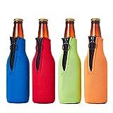 Botella de cerveza espuma funda cremallera de neopreno–cerveza botella aislante funda–juego de 4colores