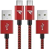 Cable Micro USB Carga Rápida 3.3 pies / 1m [ 2-Unidades ] Rampow® 2.4A Cable USB para cargar Trenzado a tejido Sin Enredos GARANTÍA DE POR VIDA - Sincro y carga usb para dispositivos Android, Samsung Galaxy, Kindle, TCL, Sony, Nexus, Motorola, Sprint y más - Rojo