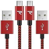 Micro USB Kabel Nylon 1m / 3,3ft [2-Pack] - Rampow® 2,4A [ Micro USB Schnellladekabel ]...