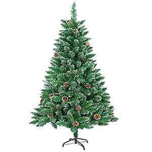 HENGMEI 180cm PVC Weihnachtsbaum Tannenbaum Christbaum Grün künstlicher mit Metallständer ca. 600 Spitzen Lena Weihnachtsdeko (Grün PVC mit Schnee-Effekt, 180cm)
