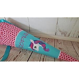 #169 Einhorn Schultüte Stoff + Papprohling + als Kissen verwendbar