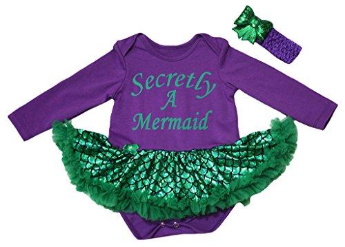 Petitebelle Secretly A Mermaid Purple L/s Bodysuit Green Scale Tutu Nb-18m (12-18 ()