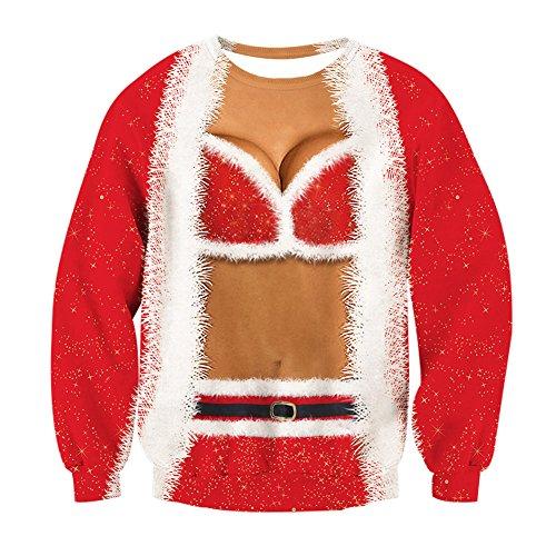 Leapparel Weihnachten T-shirt Paar und Couples Santa Elf 3D Fake 2 Stücke Druck Langarm Kleidung Rot L (T-shirt Tragen Lager Zu)