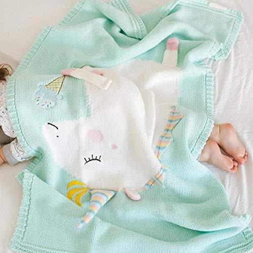 Househome - Manta para bebé de punto de unicornio, suave y cálida, manta de punto de crochet para bebés verde verde