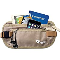 Egoz Travel Money Belt RFID Blocking - Under Clothes Waist Bag - Hidden Security Pouch For Cash Cards Passport Tickets - 2 Zip Pockets Adjustable Strap Side Clip Washable Light Slim Comfort