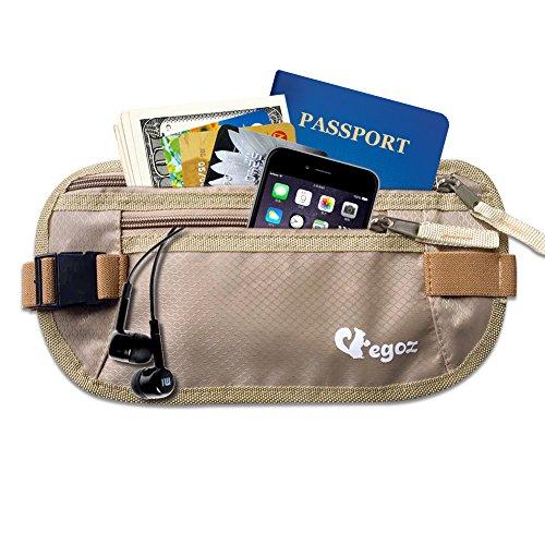 Cashew By Egoz Voyage équipement argent Ceinture secrète sac de taille Sac pochette Sécurise espèces passeport ,2 Zip Pockets, Adjustable Strap Light Slim Comfortable - Delux (Beige)