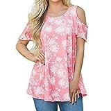 Juti Frauen Kurzarm Printed Bluse Tops T-Shirt(Rosa,EU:40/CN:L)