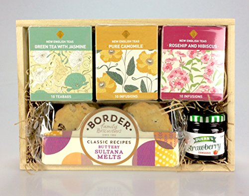 Tea TimeTreats Hamper Gift Box -Teas, Jam, Biscuits. Any Occasion - Birthday - Get Well - Corporate - Valentine's Day -Mother's Day - Easter - Thank You - New Home - Get Well
