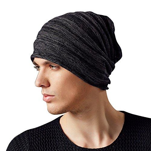 Kenmont Herbst Winter Herren Outdoor warm 100% Baumwolle Beanie Hat Skull Slouch Cap Gr. One Size, Mehrfarbig - Schwarz Grau (100% Cap Baumwolle)