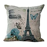 Hengjiang Kissenüberzug mit Eiffelturm-Motiv aus Baumwollleinen, Heim- / Sofadekor, Paris, Frankreich, Geschenk #04
