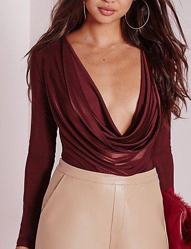 GSP-Combinaisons Aux femmes Manches Longues Sexy Coton / Polyester Moyen Micro-élastique wine-s