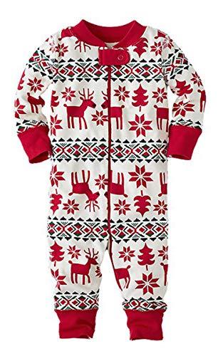 ECOWISH Weihnachten Schlafanzug Familien Outfit Mutter Vater Kind Baby Pajama Langarm Nachtwäsche Print Sleepwear Top Hose Set 124 Baby 12M