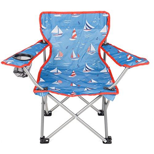 Yello Kids' Sailboats Beach Folding Chair, Blue, 53 x 35 x 35 cm