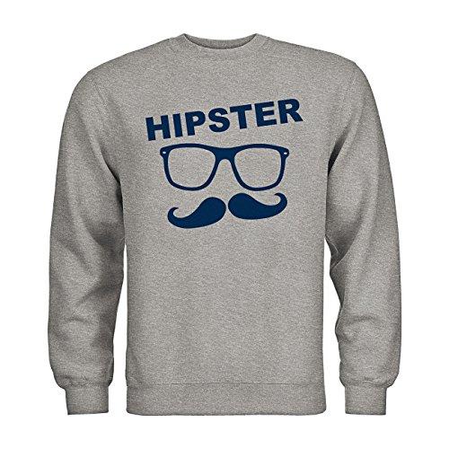 dress-puntos Kids Kinder Sweatshirt Hipster Brille Bart 20drpt15-ks01037-267 Textil heathergrey / Motiv marineblau Gr. 110/116 (267 Brille)