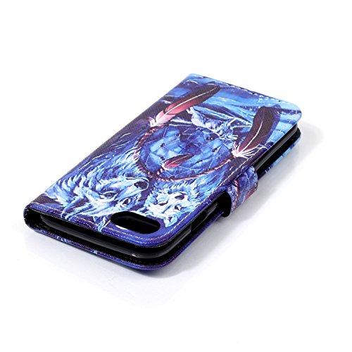 SainCat Apple iPhone 7 Custodia in Pelle,Anti-Scratch Protettiva Corpertura Caso Custodia Per iPhone 7,Elegante Creativa Dipinto Pattern Design PU Leather Flip Ultra Slim Sottile Morbida Portafoglio W Wolf e Luna