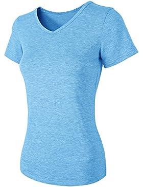 HENCY Camiseta de manga corta de mujer con del Escote V