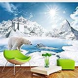 Qwerlp Wandbild Tapete 3D Stereo Eisbär Fantasie Schloss Schnee Landschaft Wohnkultur Kinder Schlafzimmer Wohnzimmer Hintergrund 3D Fresko-260Cmx195Cm