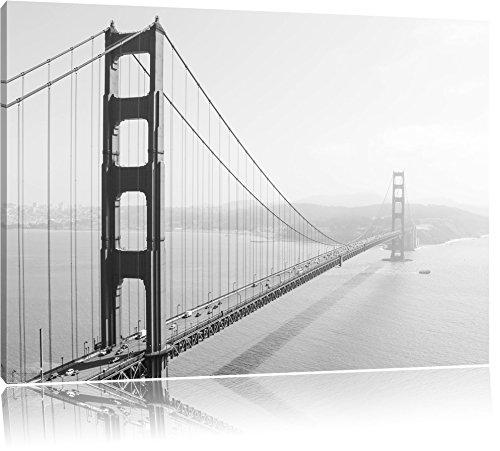 Golden Gate Bridge San Francisco Black and White Format: 60x40 cm auf Leinwand, XXL riesige Bilder fertig gerahmt mit Keilrahmen, Kunstdruck auf Wandbild mit Rahmen, günstiger als Gemälde oder Ölbild, kein Poster oder Plakat (Weiß-plakat California Und Schwarz)