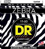 DR Strings ZEBRA 11-50 Jeu de Cordes pour Guitare Acoustique-Electrique