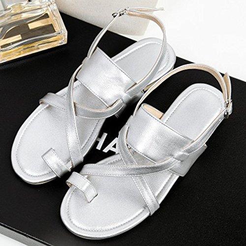 Oasap Women's Fashion Flat Gladiator Thong Sandals Brown