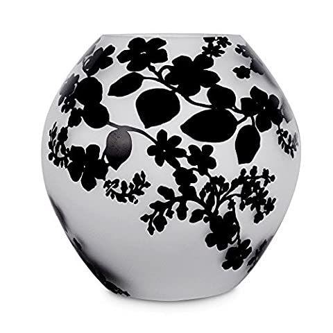 MiniSun - Contemporary White Frosted Glass Black Floral Leaf Damask Pattern Round Ball Glass Table Lamp Light