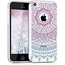 kwmobile Funda para Apple iPhone 5C - Case para móvil en TPU silicona - Cover trasero Diseño sol indio en azul rosa fucsia transparente