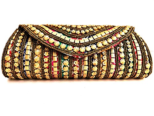 Moddic Fashion Women's Handmade & Handcrafted Embroidery Clutch Purse For Party, Special Occasion And Casual Use (Multicolor)  available at amazon for Rs.299