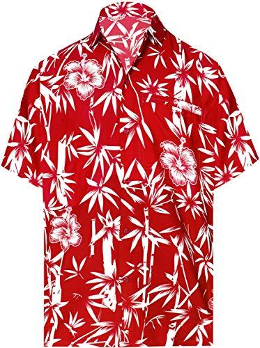 LA LEELA männer Hawaiihemd Kurzarm Button Down Kragen Fronttasche Beach Strand Hemd Manner Urlaub Casual Herren Aloha HellRot_449 7XL Likre 1890 - Herren Winter Mantel 5x