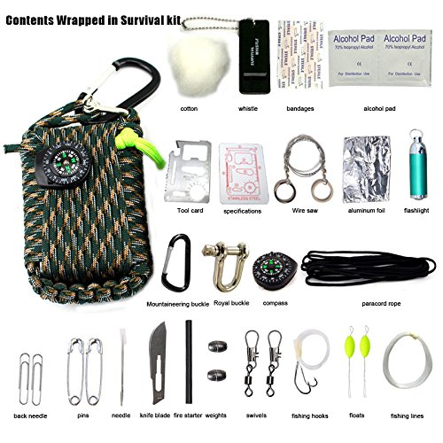 Emergency Survival Kit, 29 in 1 Paracord Grenade Mini Erste Hilfe Kits Whistle Feuer Starter Set Survival Messer Köder Kompass & mehr (Armee grüne camouflage)
