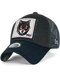 ililily Wolf Reh Tier Rechteck Flicken Freizeitkleidung Netz Baseball Cap Trucker Cap Hut
