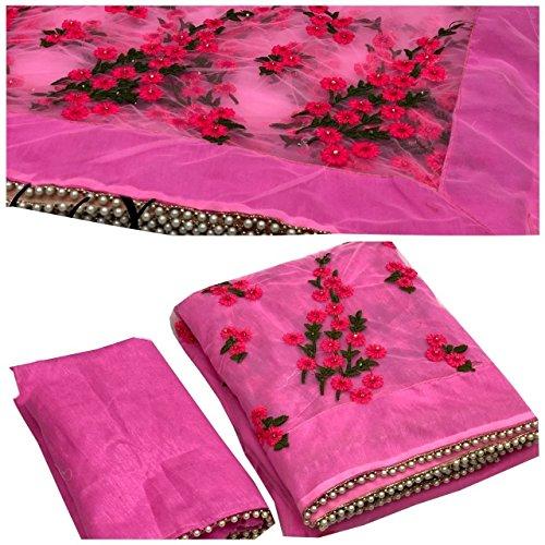Shree Net Saree With Blouse Piece (SMIX-4015_Pink_Free Size)