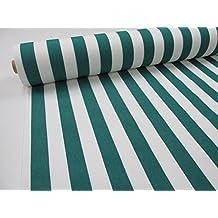 Metraje 0,50 mts. Tejido lona acrílica, Raya Verde, con ancho 3,20 mts.