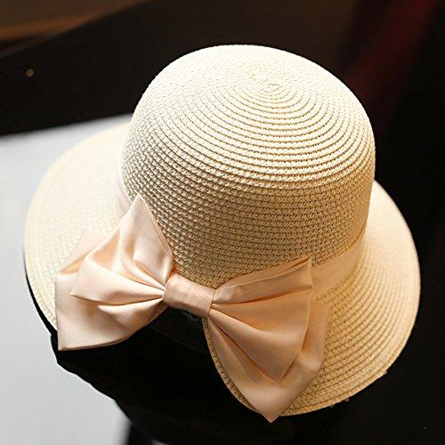 iShine Capeline de Femme Elégant Chapeau de Paille avec Nœuds Papillon Grand Visière Fente au Revers Anti-Lumière Contre UV Couleur Claire Abricot / nœuds rose pâle