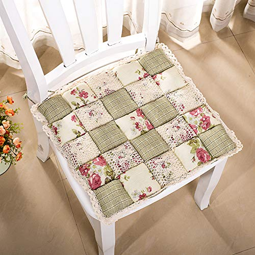 VIMOER Weiche, Bequeme Stuhl-Sitzpolster, quadratische Stuhlkissen, Spitze, Blumenmuster, warme Stuhlkissen für Heimbüro (40 x 40 cm), Baumwolle, 1103, 40 * 40cm