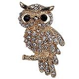 Yazilind bijoux plaque or pleine de marqueterie en cristal Broches hibou mignon et Pins pour la noce