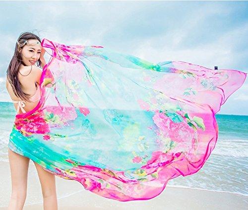 UK_Stone Damen Übergroesse Modisch Blumenmuster Sarong Pareo Strandtuch Wickeltuch Bikini Sonnenschutz Decke Cover-up Türkis