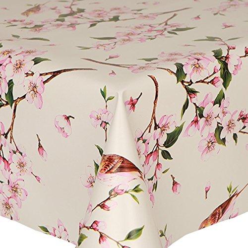 Tovaglia in PVC uccelli 1metro (100x 140cm), motivo floreale con foglie, colore: rosa e marrone floreale orientale Latte Verde, facile da pulire, in vinile/plastica