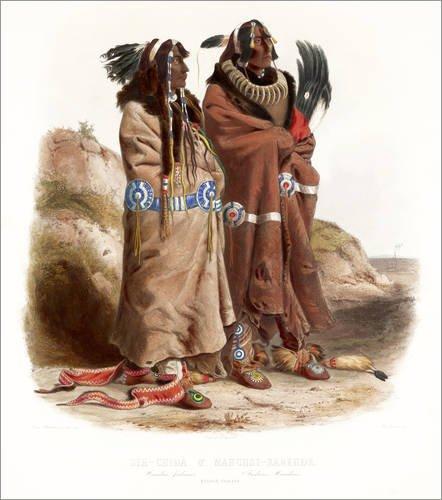 Forex-Platte 60 x 70 cm: Maksic Karehde und Sih Chida zwei Mandans von Karl (Tracht Nordamerika)