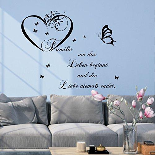 Preisvergleich Produktbild greenluup® Wandtattoo Familie ist wo Leben beginnt und die Liebe niemals endet in Schwarz Spruch Zitat,Wohnzimmer,Flur,Kinderzimmer,Schlafzimmer,Wandsticker
