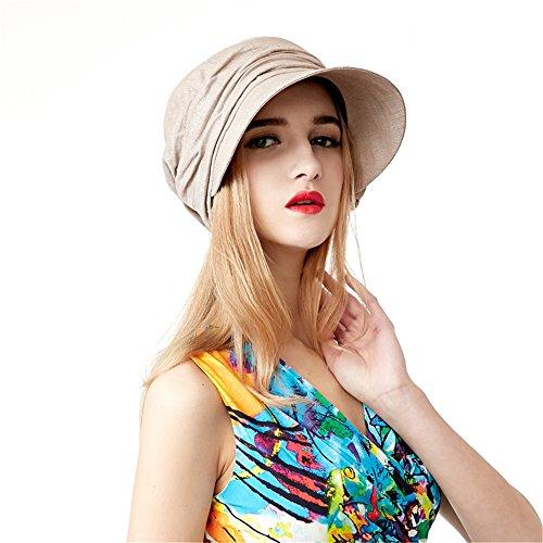Visière Chapeau De Soleil Femme Filles Large Bord Beige