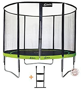 Kangui - Trampoline de jardin 305 cm + filet de sécurité + échelle PUNCHI ALOE